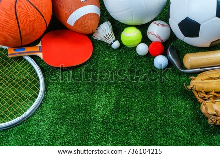 Sports Equipment on green grass, Top view #786104215