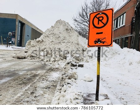 no parking road sign snow cleaning winter