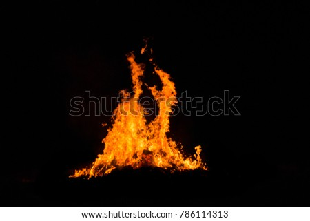 Bonfire blur silhouette Black background light. at phuket Thailand #786114313