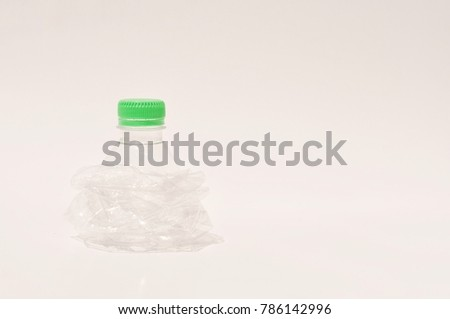 example of isolated clean and variety plastic bottles over the faded white background and selective focus used for recycle, reduce pollution #786142996