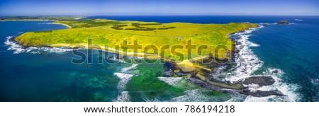 Aerial panoramic view of Phillip Island coastline, Victoria, Australia #786194218