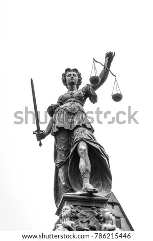 lady justice as symbol for law in Frankfurt, Germany #786215446