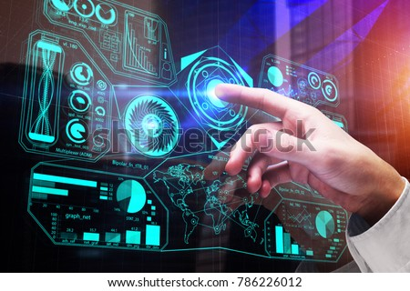 Hand pointing at digital business interface on abstract city background. Future and media concept. Double exposure  #786226012