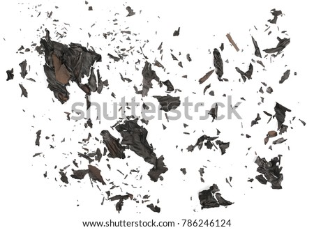 Burned, charred paper scraps isolated on white background, top view Royalty-Free Stock Photo #786246124