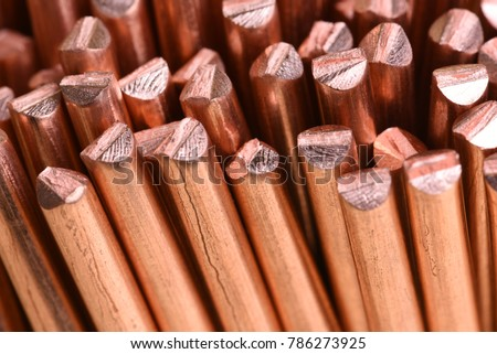 Close-up copper wire raw materials and metals industry and stock market concept #786273925