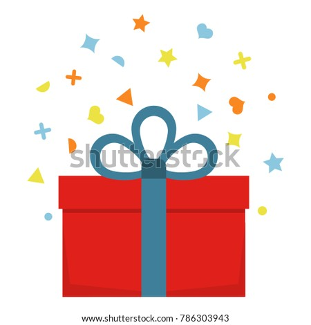 Beautiful cardboard and paper gift box with lid and ribbon. Vector illustration #786303943