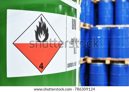 storage of barrels in a chemical factory - logistics and shipping Royalty-Free Stock Photo #786309124
