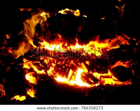 Fiery flame of fire on a black background close up #786358273