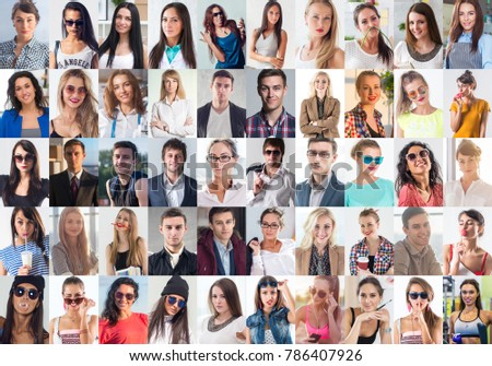 Collection of different many happy smiling young people faces caucasian women and men. Concept business, avatar. #786407926