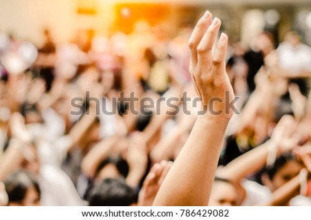 Raising Hands for Participation,Vote, Royalty-Free Stock Photo #786429082