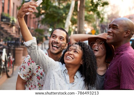 Group Of Friends Posing For Selfie On Street In New York City #786493213