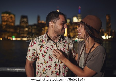 Romantic Couple With Manhattan Skyline In Background At Dusk #786501547