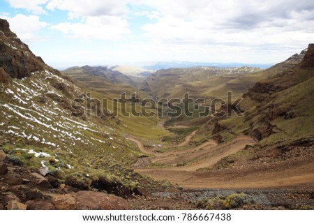 Sani pass, border South Africa-Lesotho #786667438