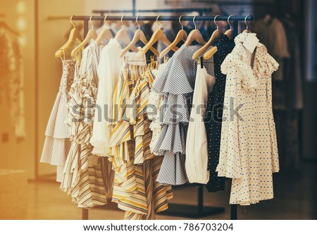 Modern woman clothing in a store in London, UK. #786703204