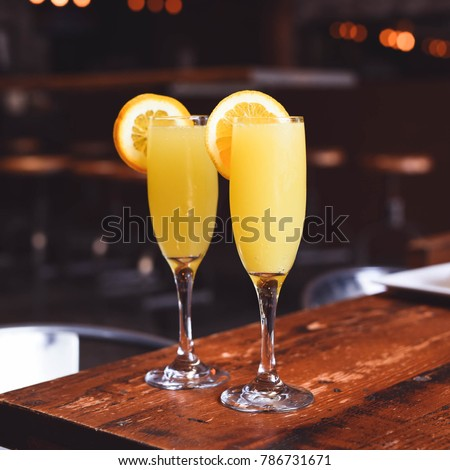 Brunch mimosa set up with champagne  #786731671