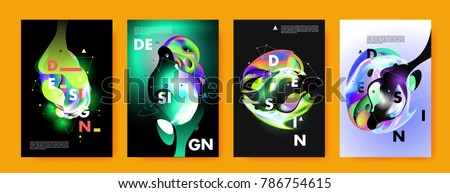 Colorful abstract liquid and fluid poster and cover design. Minimal geometric pattern gradients backgrounds. Eps10 vector. #786754615