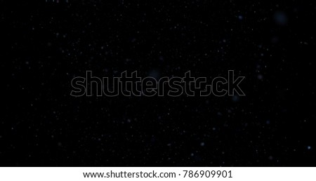 Flying dust particles on a black background, 3D rendering #786909901