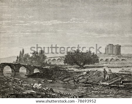 Old illustration of a bridge on Rhyndacus river, in Cavdarishar (once Aizari) and Zeus and Cybele temple in background, Turkey. Created by Gaiaud, published on Le Tour du Monde, Paris, 1864