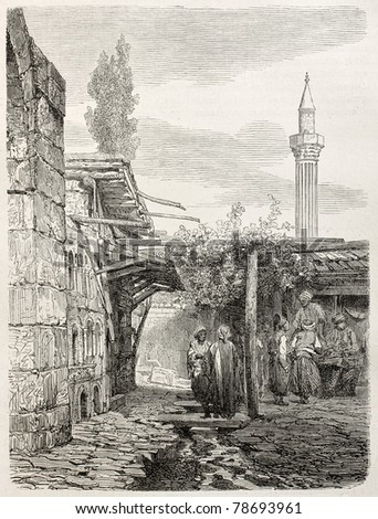 Old illustration of an house build with funeral monuments rubbles in Usak, Aegean region, Turkey. Created by Gaiaud, published on Le Tour du Monde, Paris, 1864
