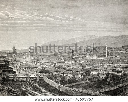 Old view of Gediz and the river of the same name, in the Aegean region, Turkey. Created by Gaiaud, published on Le Tour du Monde, Paris, 1864