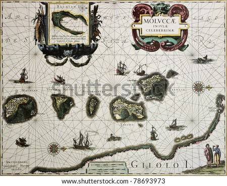 Maluku island old map. Created by Willem Blaeu, published in Amsterdam 1630 #78693973