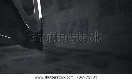 Empty dark abstract concrete room smooth interior. Architectural background. Night view of the illuminated. 3D illustration and rendering #786991933