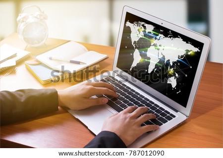 Businessman network technology and  communication #787012090