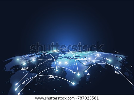 Global network connection. World map point and line composition concept of global business. Vector Illustration #787025581