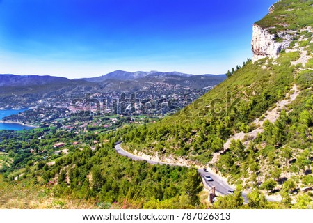 Road at Calanques at the Mediterranean sea in Cote Azur in France in summer. #787026313