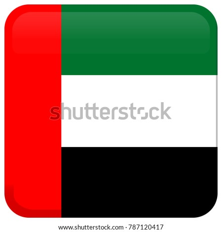 Flag of United Arab Emirates (UAE). Abstract concept, icon, square, button. Raster illustration on white background. #787120417