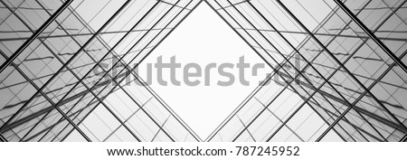 architecture of geometry at glass window - monochrome Royalty-Free Stock Photo #787245952