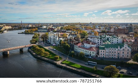 Vyborg, Russia - Oct 6, 2016. Aerial view of Vyborg Township with the river. Vyborg stands at the head of Vyborg Bay of the Gulf of Finland, 113 km northwest of St. Petersburg. #787251766