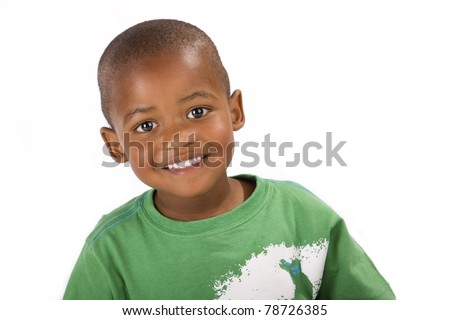 Cute happy 3 year old black or African American boy smiling for the camera #78726385