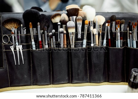 Great photo of  makeup brushes in black case #787411366
