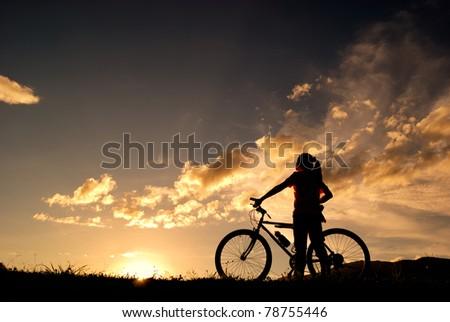 Mountain biker Woman silhouette #78755446