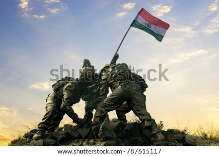 Statue of Indian soldiers planting the national flag, Happy independence day of India.   Royalty-Free Stock Photo #787615117