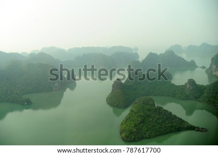Ha Long Bay is a UNESCO World Heritage Site and popular travel destination in Quang Ninh Province, Vietnam. The bay features thousands of limestone karsts and isles in various shapes and sizes. #787617700