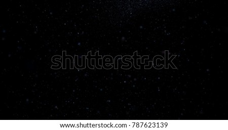 Flying dust particles on a black background. 3D rendering #787623139
