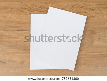 Blank catalog, magazines, book mock up on wooden  background #787651360