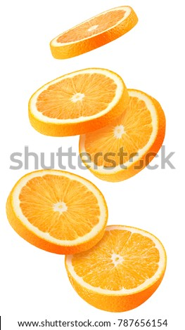 Isolated flying oranges. Falling sliced orange fruit isolated on white background with clipping path #787656154