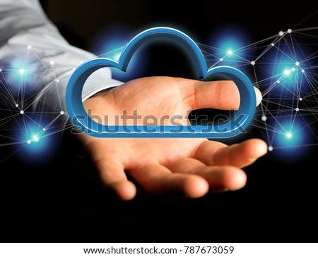 View of a Blue cloud displayed on a futuristic interface - 3d rendering #787673059