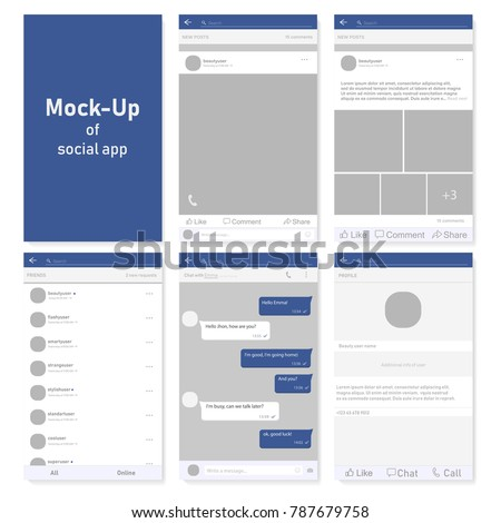 Set of social network photo, post frames and other pages vector illustration. Inspired by Facebook and other social resources. Mock up Vector illustration Modern design of news. Vector illustration