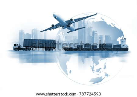 Transportation, import-export and logistics concept, container truck, ship in port and freight cargo plane in transport and import-export commercial logistic, shipping business industry  #787724593