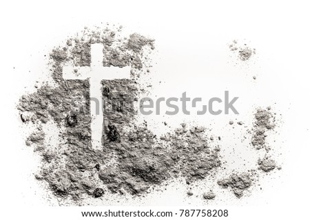 Christian cross or crucifix drawing in ash, dust or sand as symbol of religion, sacrifice, redemtion, Jesus Christ, ash wednesday, lent, Good Friday Royalty-Free Stock Photo #787758208
