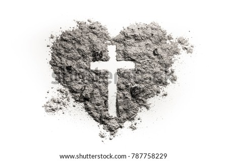 Cross or crucifix in heart symbol made of ash, sand or dust as Jesus Christ christian passion or chrism, lent and Ash Wednesday concept Royalty-Free Stock Photo #787758229
