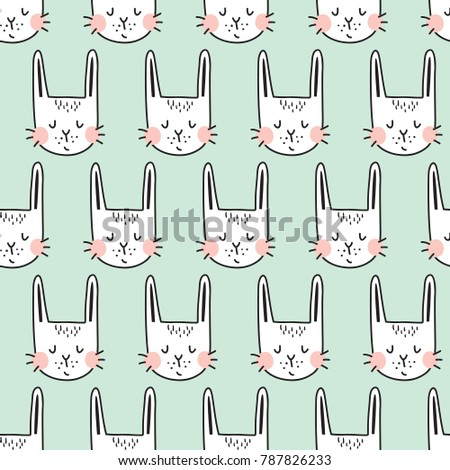vector seamless pattern with adorable bunnies on light blue background #787826233
