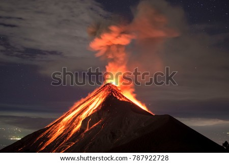 Lava going down the Volcano Fuego in Antigua, Guatemala, right after an eruption. #787922728