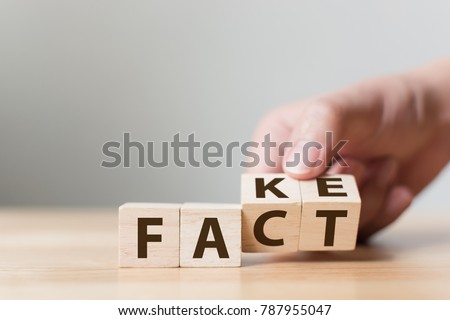 Fact or Fake concept, Hand flip wood cube change the word, April fools day #787955047