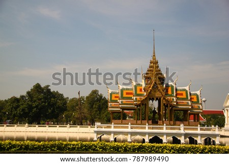 Tourists are visiting The magnificent architecture of Bang Pa-in Palace, Bangpra District, Phra Nakhon Si Ayutthaya Province, Thailand on January 5, 2018. #787989490