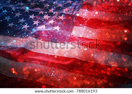 American flag and bokeh background with copy space for american celebration